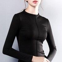 Womens Top Long Sleeve O Neck Tshirt Women All Match Tee Black Gray White T Shirt