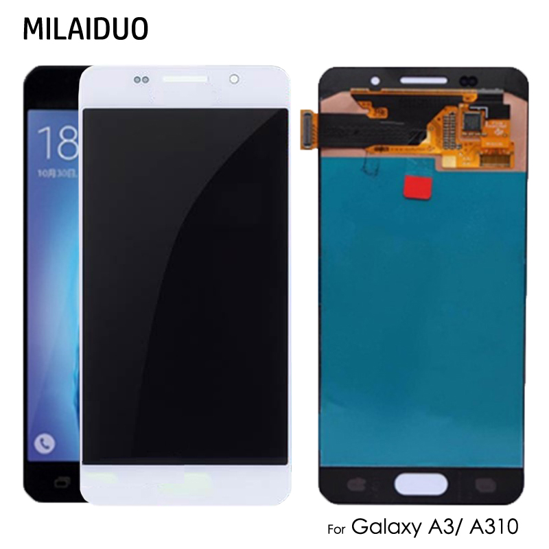 <font><b>AMOLED</b></font>/TFT For Samsung Galaxy A3 2016 A310 <font><b>A310F</b></font> SM-<font><b>A310F</b></font> LCD <font><b>Display</b></font> OLED Touch Screen Digitizer Assembly Adjust Bright image