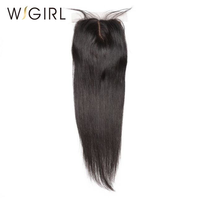 Wigirl Hair Silk Base Closure Brazilian Straight Human Remy Hair 4X4 Siwss Lace with Bleached Knots Middle Part Style