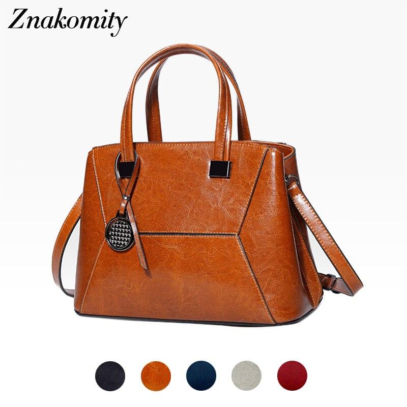 Znakomity Womens bags brown shoulder strap bag vintage Luxury genuine leather handbags real leather messenger bag crossbody