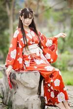 Japanese Women Long Kimono Yukata Costume Dress Gown Sleepwear Bathrobe