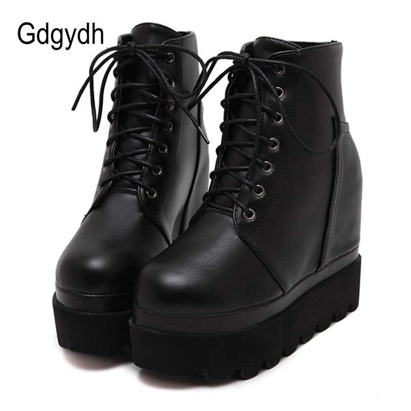Gdgydh Soft Leather Women Ankle Boots High Heels Fashion Lacing Black Height Increasing Shoes Woman 2017 New Autumn Wedges Shoes цены онлайн