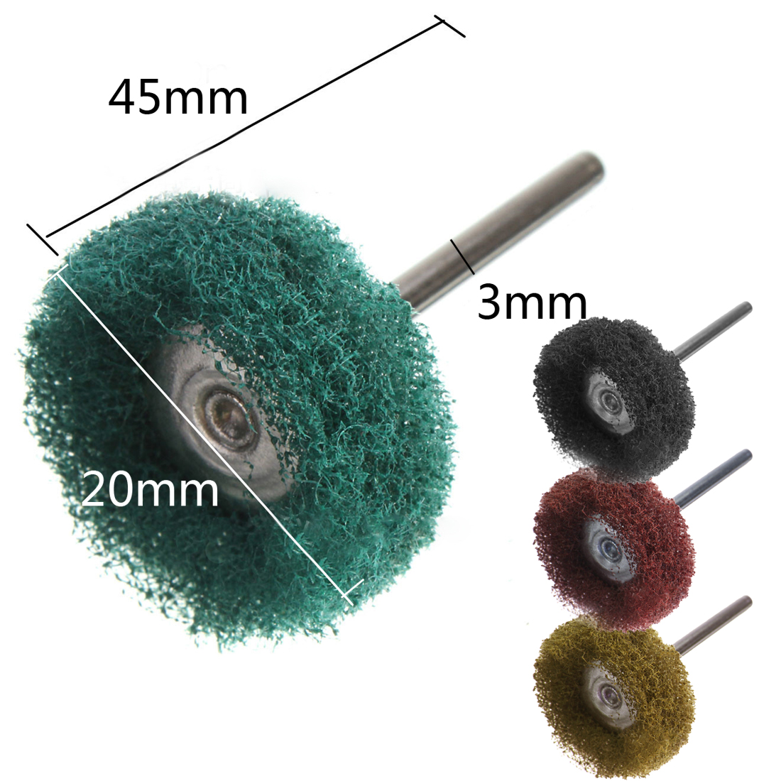 Mini Brush Scouring Pad Abrasive Wheel Nylon Fiber Grinding Sanding Head Buffing Polishing Wheel 3mm Shank  For Dremel