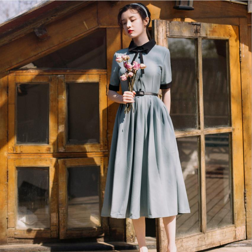 P Earl Dress  French Retro Literary Temperament French Niche Dress Female Platycodon Slim High Waist Shirt Style Dress Wq1943