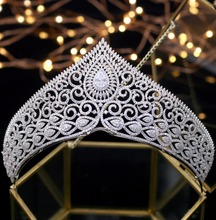 Asnora หรูหราคริสตัล Tiaras เจ้าสาว Crown coroa de noiva งานแต่งงานอุปกรณ์เสริมผมเจ้าหญิงมงกุฎ Zircon Tiara