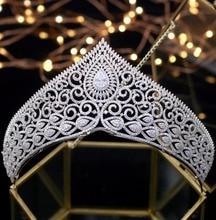 Asnora الفاخرة بلورات التيجان الزفاف تاج coroa دي noiva الزفاف إكسسوارات الشعر الأميرة التيجان الزركون تيارا