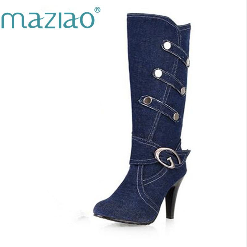 MAZIAO Womens Knee Boots for Ladies Long Boot Plus Size 34-43 on Sale Round Toe New Jean stiletto heel boots ...