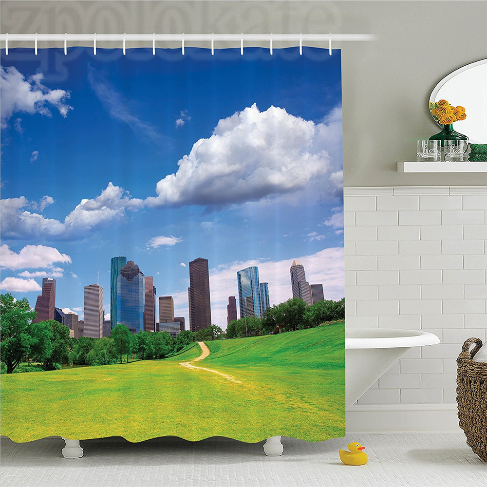 Apartment Houston Texas Modern Skyscrapers Buildings Clouds Sky View from Park Lawn Image Polyester Bathroom Shower Curtain Gree