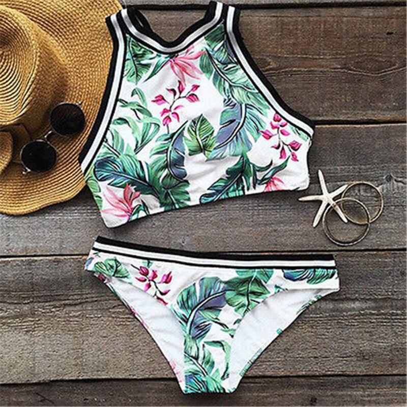 2017 New Bikinis Women Swimsuit High Waist Floral Bathing Suit Plus Size Swimwear Push Up Bikini Set Vintage Retro Beach Wear high waist swimsuit 2016 bikinis women plus size swimwear bathing suits vintage retro floral push up bikini set beach wear xl