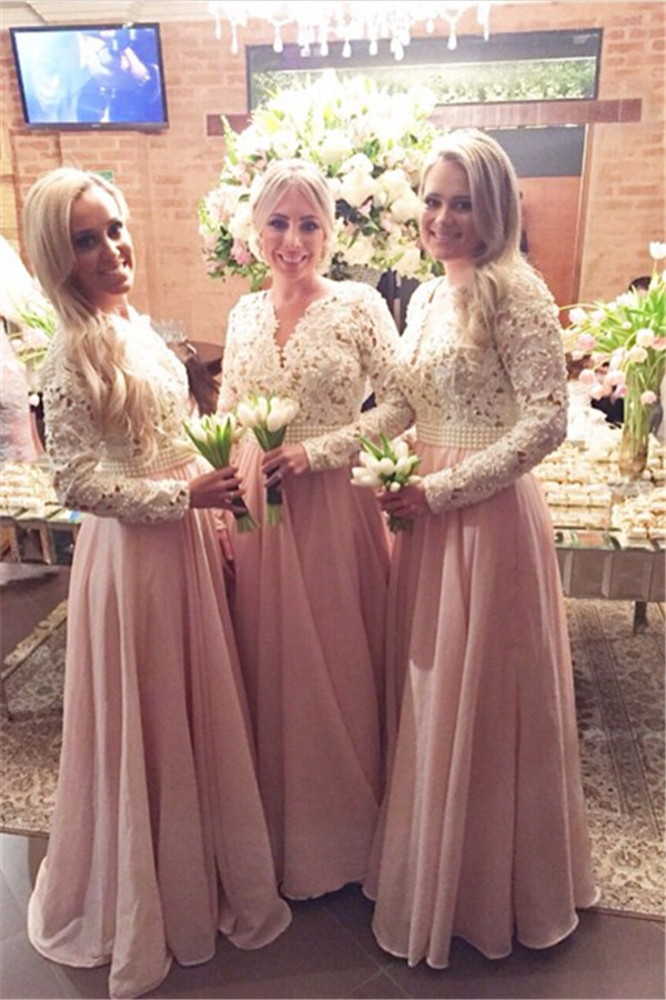 Pink 2019 Cheap Bridesmaid Dresses Under 50 A-line V-neck Long Sleeves Chiffon Lace Pearls Wedding Party Dresses
