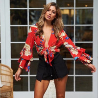 Boho Floral Print Top Elegant Crop Tops V Neck Lace Up Blouse Women Chiffon Shirt Summer