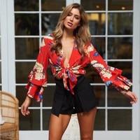 Boho Floral Print Top Elegant Crop Tops V Neck Lace Up Blouse Women Chiffon Shirt Summer