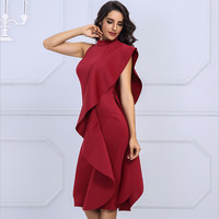ec6495d2212ca High Quality 2019 New White Summer Women S Celebrity Party Dress Red Wine  Sexy Sleeveless Patchwork