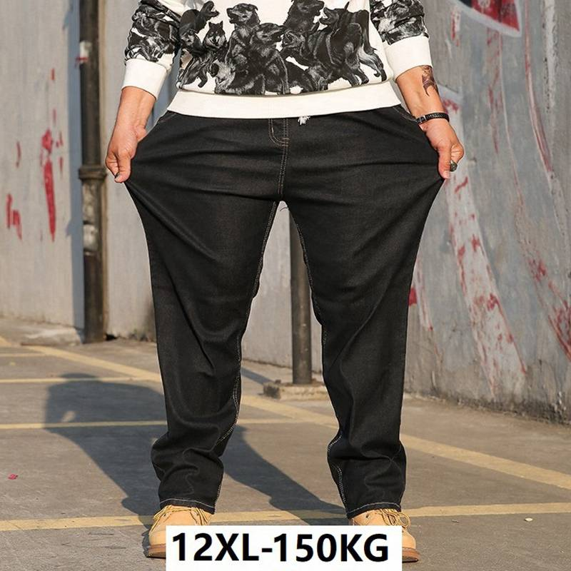 large size big men jeans 10XL 12XL Trousers Stretch business office pants high waist Elasticity straight 8XL jeans autumn winter(China)
