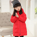 2016 NEW Winter Children Girl's Down & Parka Coats Solid Long Loose Thick Hooded Warm Winter Outerwear Girls Parka