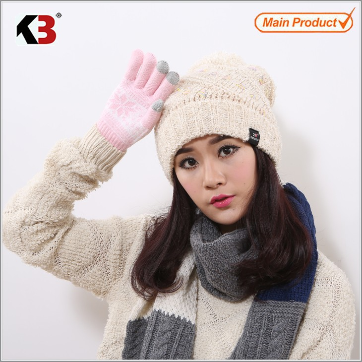 Women Cable Knit Pom Pom Bobble Beanie Hat Fashion Ball Top Winter Knit Hat (6)