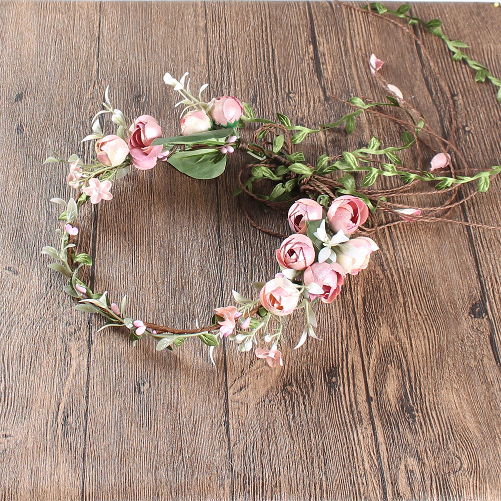 Ladies Decor Elastic Fashion Artificial Flower Headband Sweet Wreath Accessories Bridal Hair Band Crown Holiday Garlands
