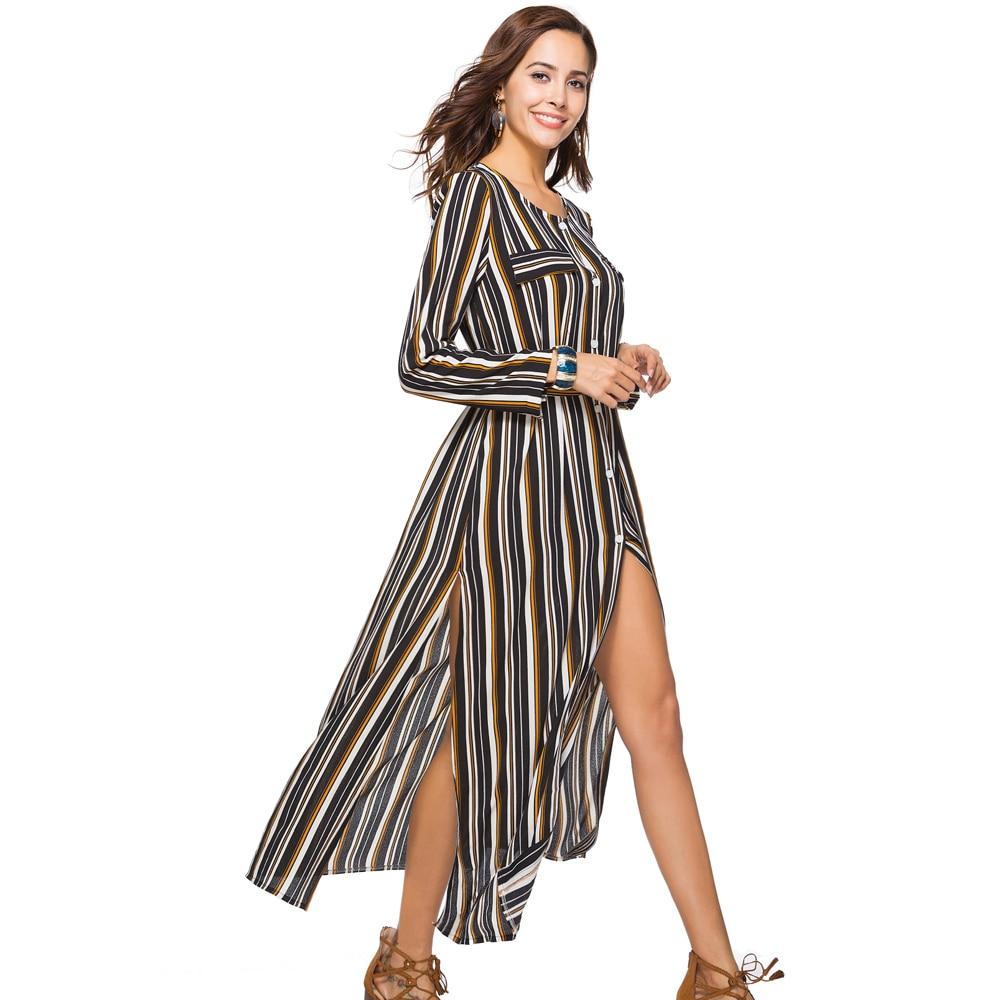 5c59f7a904d Jessie Vinson Fashion Women Striped Print Chiffon Split Maxi Dress Plus Size  O neck Long Sleeve Single Breasted Waist Long Dress-in Dresses from Women s  ...