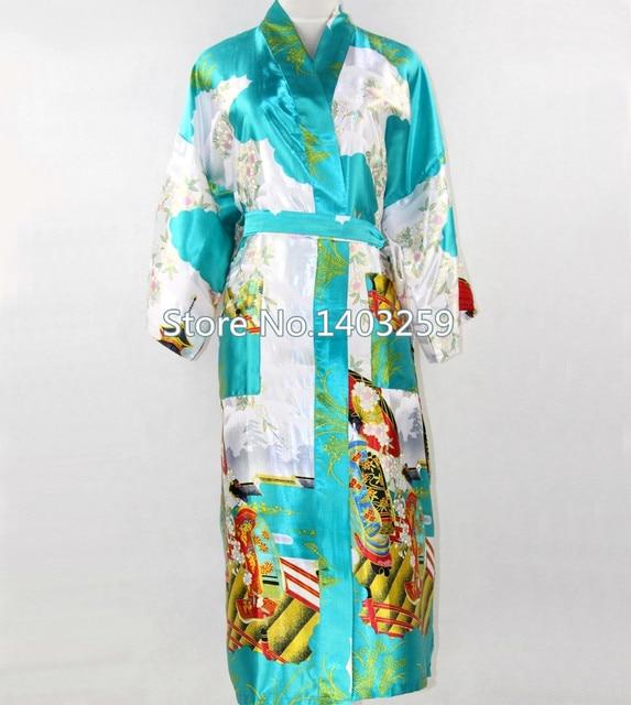 Синий китайский национальных тенденций женщин шелковый халат кимоно платье летний зал длинные ночное невеста халат размер S-XXXL NR043