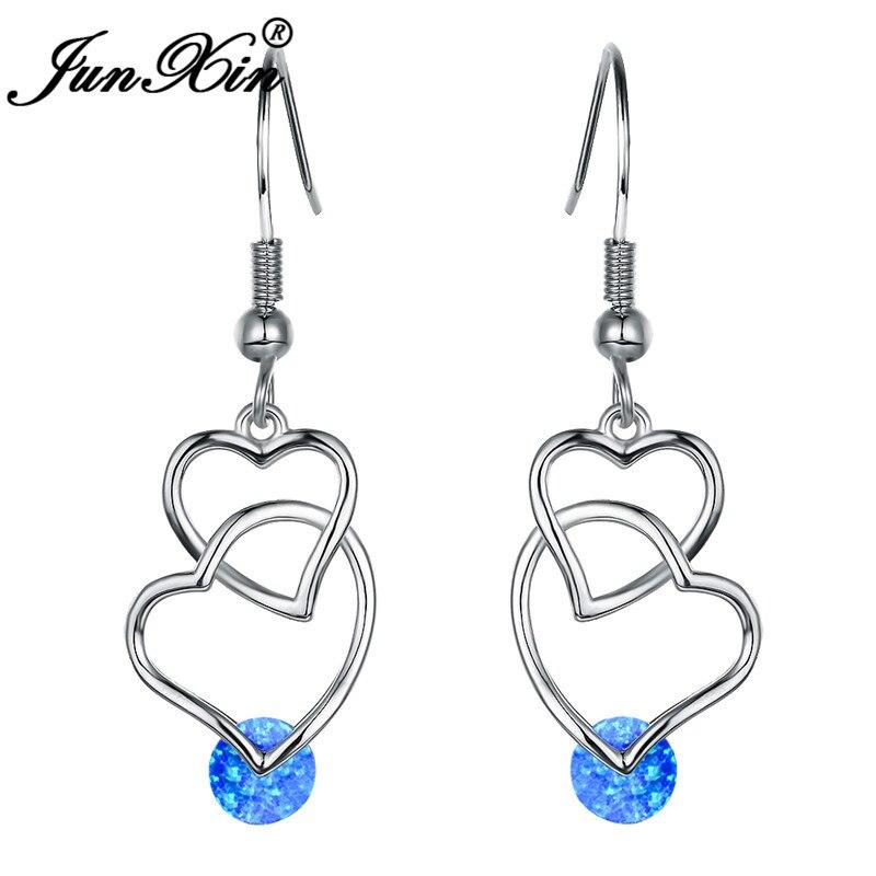 JUNXIN Trendy Double Heart Crossed Long Drop Earrings For Women White Gold Rose Gold Filled Round White Blue Fire Opal Earrings