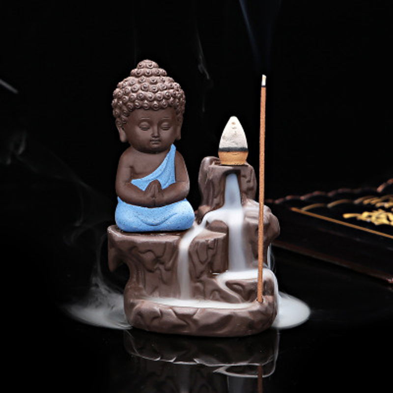 T Buddha Cone Backflow Incense Burners Little Monk Ceramic Cone Stick Incense Holders Home Office Decorations Tea Pets Gift
