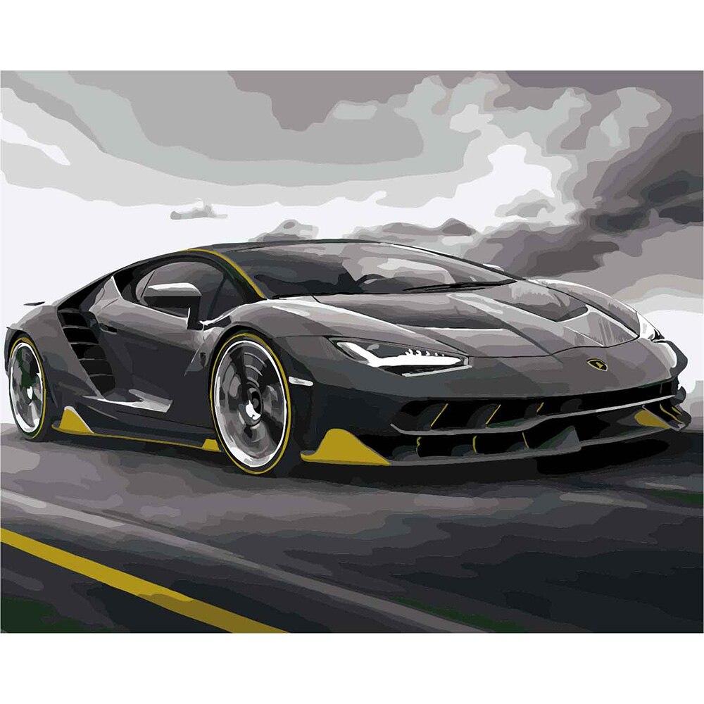 DEYI 40*50 cm auto malen Nach Zahlen rahmen DIY Berühmten auto ...