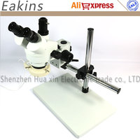Trinocular stereo microscope 7~45X Continuous zoom+Universal bracket+Big Floor+56 LED light for Lab PCB Inspection