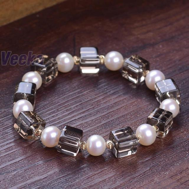fashion crystal bracelet for women brand bracelet jewelry with real freshwater pearls and smoky quartz beads round gold plated