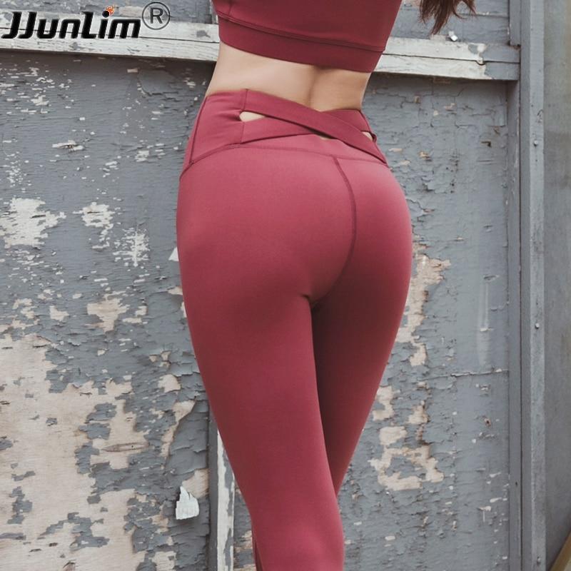 b507c0148b1bd3 Women Yoga Leggings Push Up Running Pants Cross Waist Sport Pant High Waist  Gym Tights Seamless