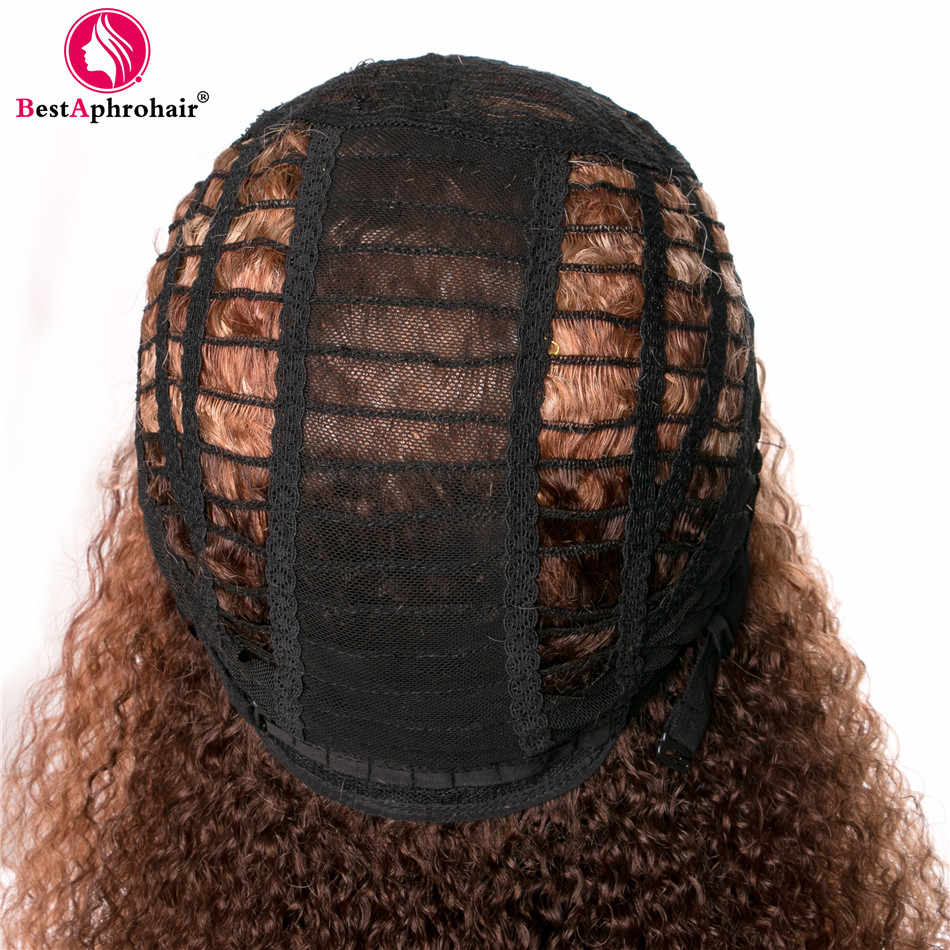 Afro Kinky Curly Human Hair Wigs For Black Women Ombre Brazilian Remy Hair U Part Lace Wig 150% Density 1b 27 Color Aphro Hair