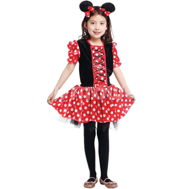 7 Sets/lot Summer Kids Minnie Costume Girls Halloween Carnival Masquerade Children Cosplay Clothes Princess Dress