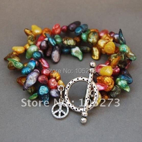 Bracelet de paix avec perle Baroque de culture d'eau douce arc-en-ciel 7.5 pouces bijoux pour femmes nouveau livraison gratuite FN2242