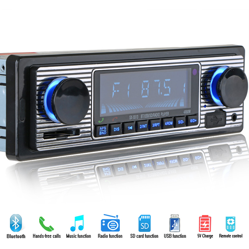 12V Bluetooth Bilradio Stereo FM MP3 USB SD AUX Audio Auto Elektronik Autoadio 1 DIN Oto Teppleri Radio Par Carro