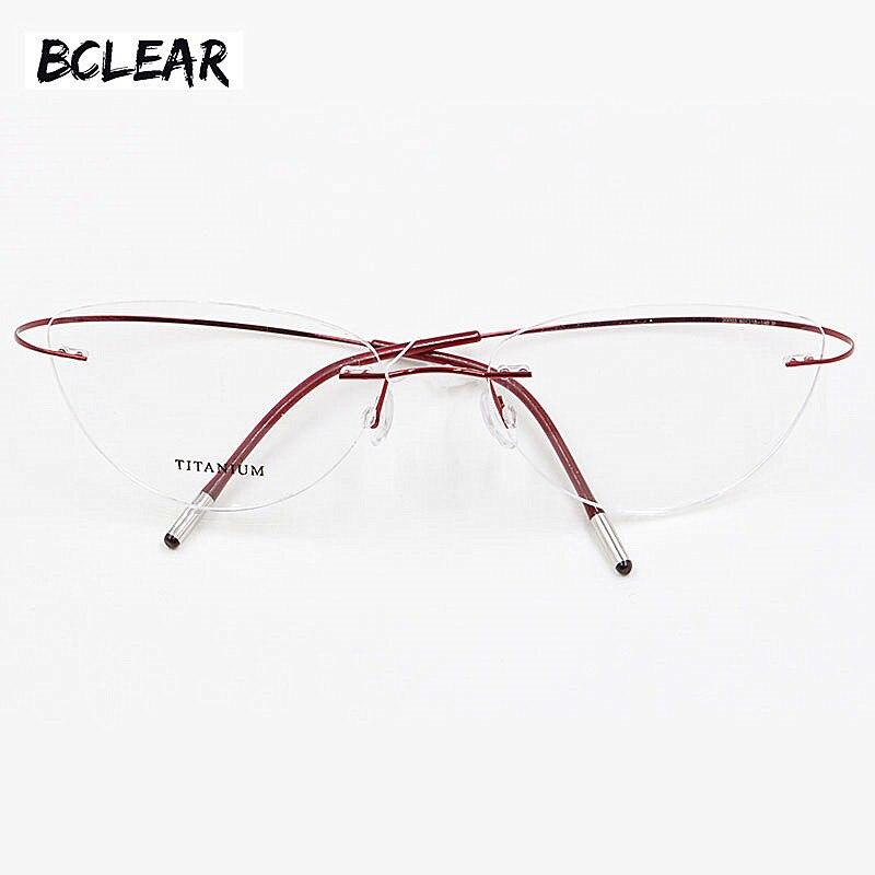 1a48bafe58 Montura de gafas sin montura de titanio para mujer gafas ultraligeras con  prescripción de ojo de gato sin tornillos marco óptico de miopía