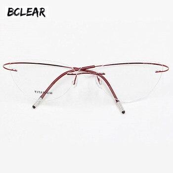 c669c67663 Montura de gafas sin montura de titanio para mujer gafas ultraligeras con  prescripción de ojo de gato sin tornillos marco óptico de miopía