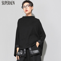 SuperAen Europe Fashion Women T Shirt Solid Color Cotton Wild Ladies T Shirt 2018 Autumn and Winter New Loose Stand Collar Tops