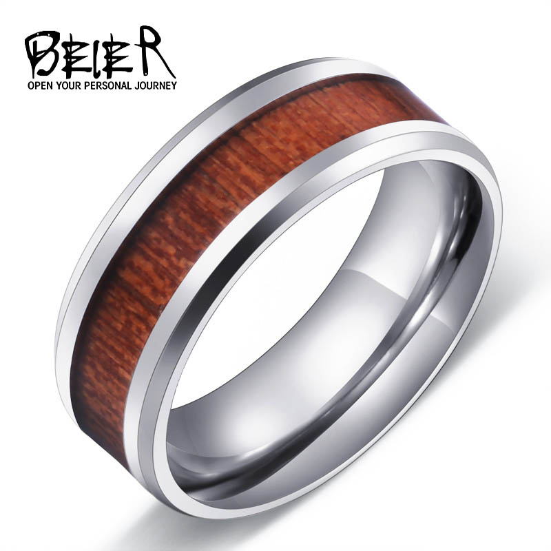 cool mans red wood ring for man stainless steel mens fashion ring high polished wedding ring - Wooden Wedding Rings For Men
