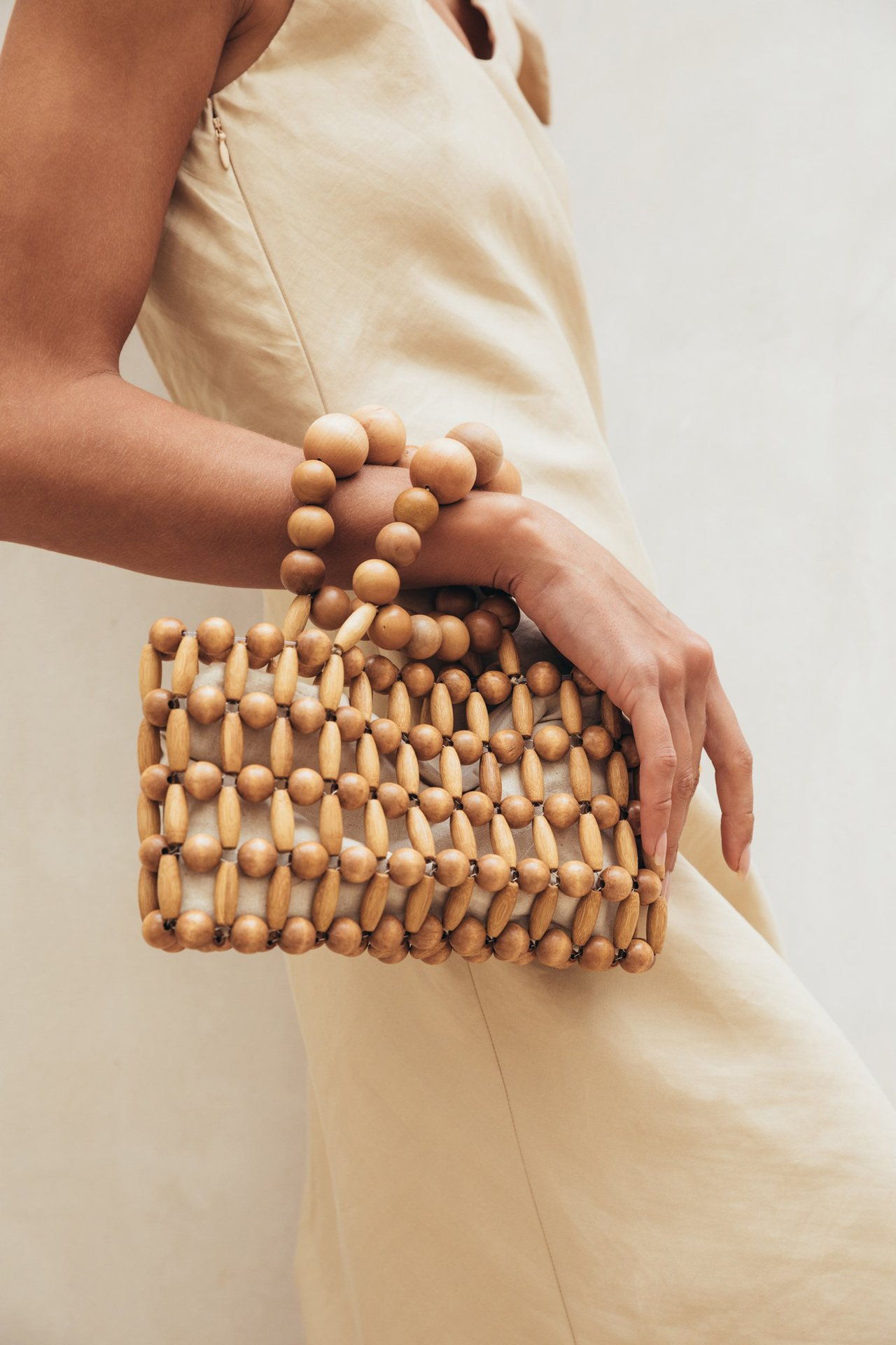 Vintage Hand-woven Women's Bag From Natural Wood Beads Handbags Retro Bamboo Beach Bag Summer Ins Popular with The Same Female