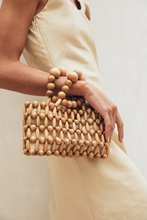 Vintage Hand-woven Womens Bag From Natural Wood Beads Handbags Retro Bamboo Beach Summer Ins Popular with The Same Female
