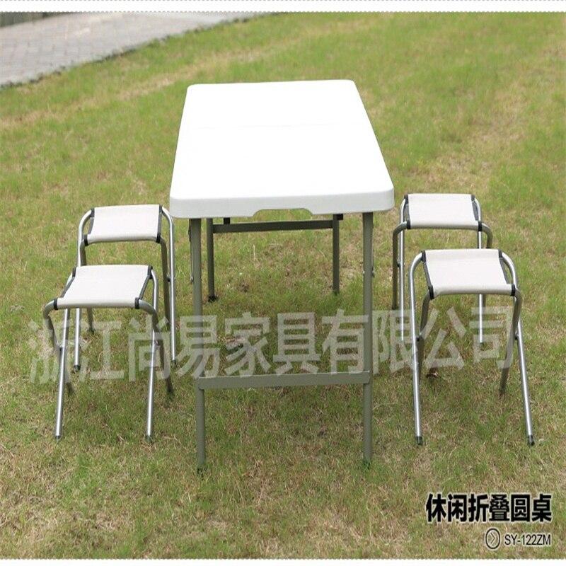122*61*60 cm Table d'extérieur pliante Portable table de Camping bureau de pique-nique en plein air avec 4 chaises pièces