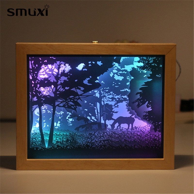 Mrosaa Night Lamp Colorful 3D Paper Picture Frame Shadow USB Night Light Gift for Home Office Wedding Birthday Decor Gifts stylish golden hollow rounded rectangle hasp bracelet for women