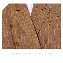 [GUTU] Spring Fashion Trend New Stripe Loose Cotton Spliced Double Buckle Coat Woman 2 Color Y22607