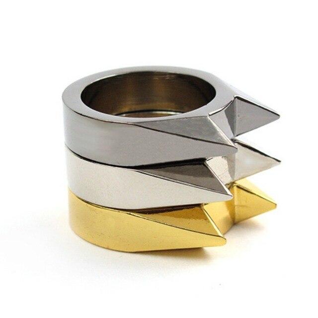 Stainless Steel Self-Defense Protect Shoker Breaker Finger Defensive Ring Gear Rivet Survival Ring For Women Lady Female