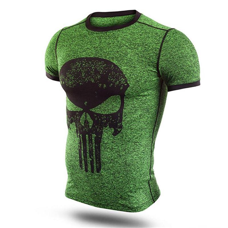 New Fitness Compression Shirt Men Punisher Skull T Shirt Superhero Bodybuilding Tight Short Sleeve T shirt Brand Clothing Tops