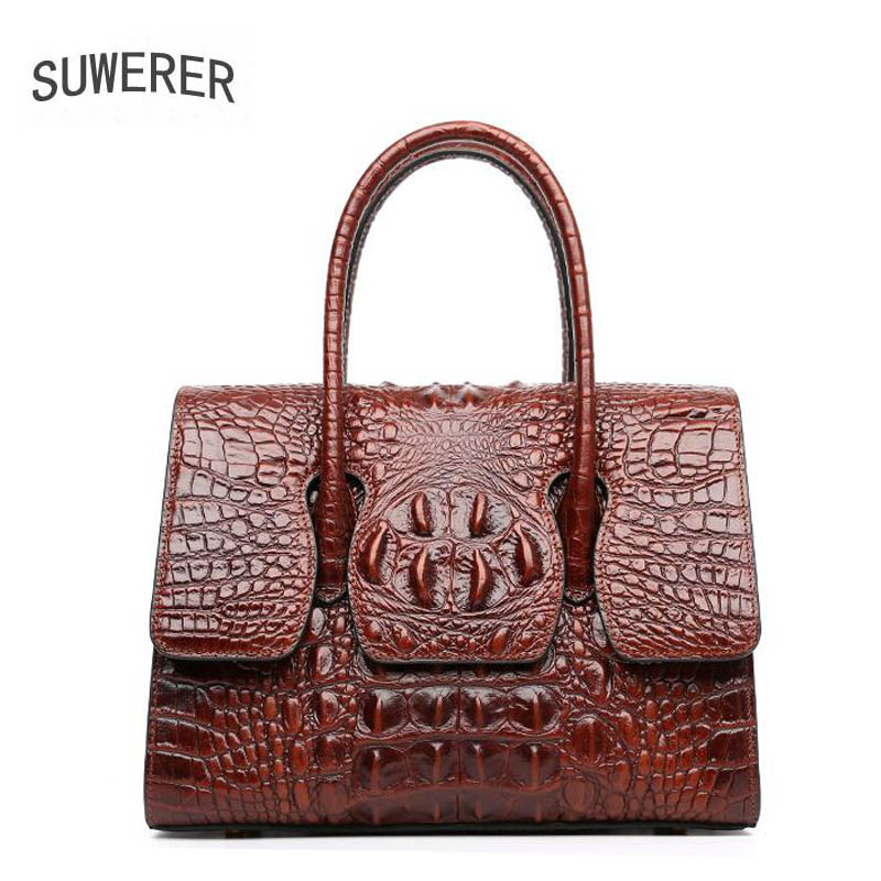 Sacs Pour Suwerer brown De Designer Black Femmes Cuir Main purple brown Les Véritable Femme Modèle À Mode Luxe Crocodile En rq0YFrw