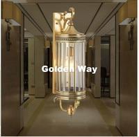 Newly Nordic Brass Retro Brass Lamp 110V~220V Indoor/Outdoor Brass Wall Lighting D15cm H56cm Antique Bronze Living Room Lights