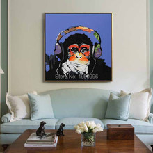 Andy warhol music monkey wall pictures creative oil painting print canvas top idea decor art for no framed