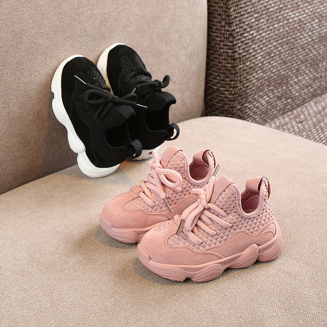 Children's Shoes 2019 Spring New Girl's Soft-soled Korean genuine leather suede Shoes boys Net cloth sneakers 1-3 years old