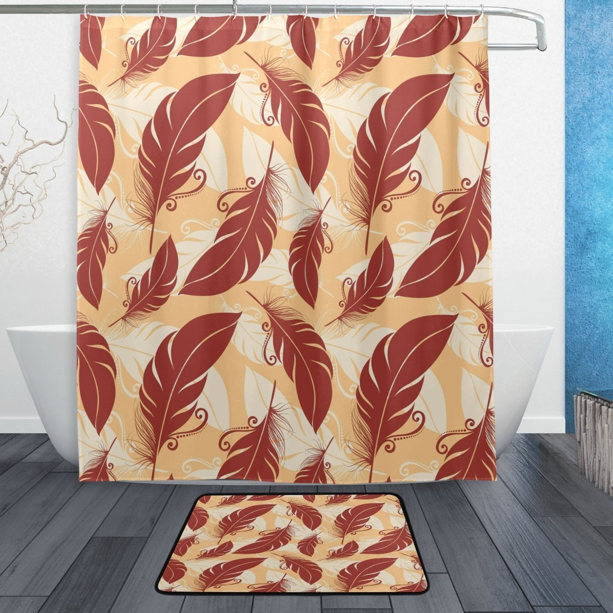 Vintage Abstract Feather Waterproof Polyester Fabric Shower Curtain with Hooks Doormat Bath Bathroom Home Decor