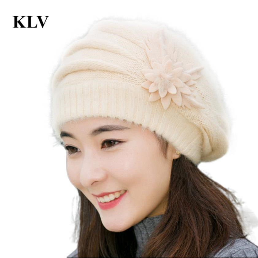 Fashion Winter Beanies Knit Hats For Women Rabbit Fur Velvet Warm Beaded Pearl Ladies Female Beret Bonnets Gorros Mujers Oc31 2016 new fashion letter gorros hats bonnets
